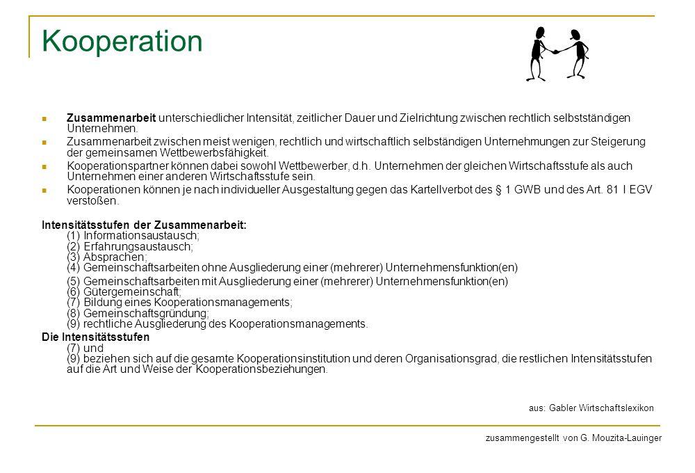 Kooperation Zusammenarbeit unterschiedlicher Intensität, zeitlicher Dauer und Zielrichtung zwischen rechtlich selbstständigen Unternehmen.