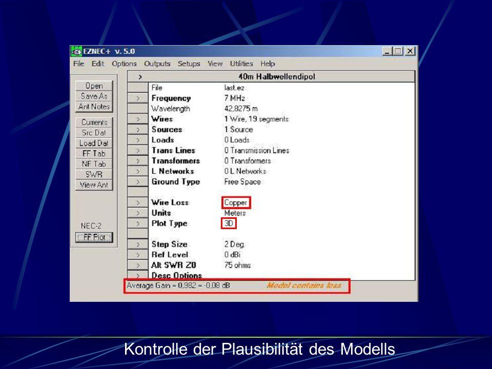 Kontrolle der Plausibilität des Modells