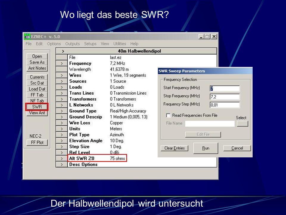 Wo liegt das beste SWR? Der Halbwellendipol wird untersucht