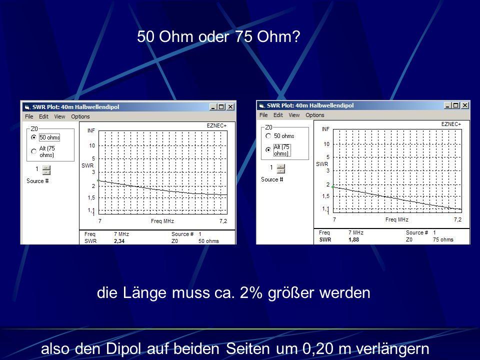 die Länge muss ca. 2% größer werden 50 Ohm oder 75 Ohm? also den Dipol auf beiden Seiten um 0,20 m verlängern