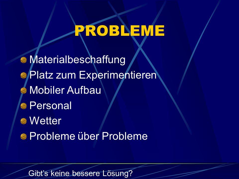 PROBLEME Materialbeschaffung Platz zum Experimentieren Mobiler Aufbau Personal Wetter Probleme über Probleme Gibt's keine bessere Lösung?