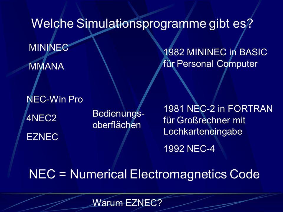 Welche Simulationsprogramme gibt es? MININEC MMANA NEC-Win Pro 4NEC2 EZNEC 1982 MININEC in BASIC für Personal Computer 1981 NEC-2 in FORTRAN für Großr