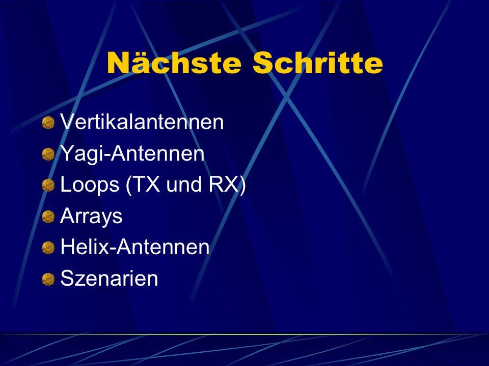 Nächste Schritte Vertikalantennen Yagi-Antennen Loops (TX und RX) Arrays Helix-Antennen Szenarien