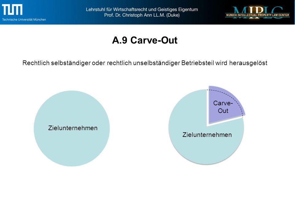 A.9 Carve-Out Rechtlich selbständiger oder rechtlich unselbständiger Betriebsteil wird herausgelöst