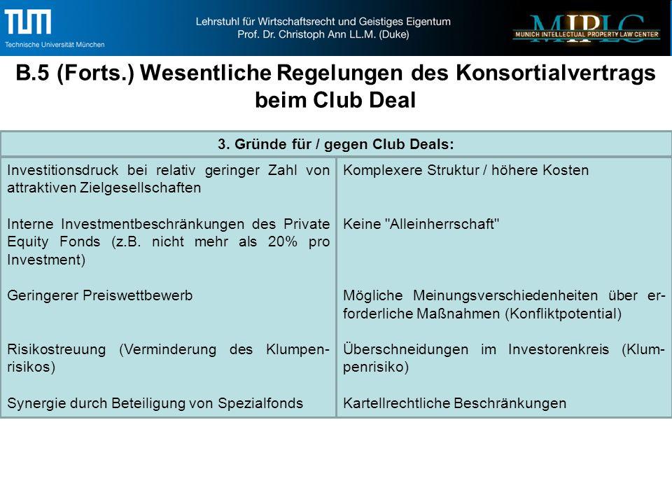 B.5 (Forts.) Wesentliche Regelungen des Konsortialvertrags beim Club Deal 3.