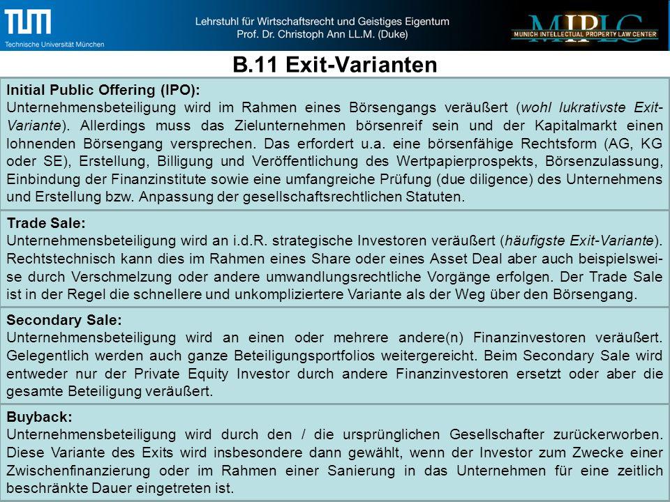B.11 Exit-Varianten Initial Public Offering (IPO): Unternehmensbeteiligung wird im Rahmen eines Börsengangs veräußert (wohl lukrativste Exit- Variante).