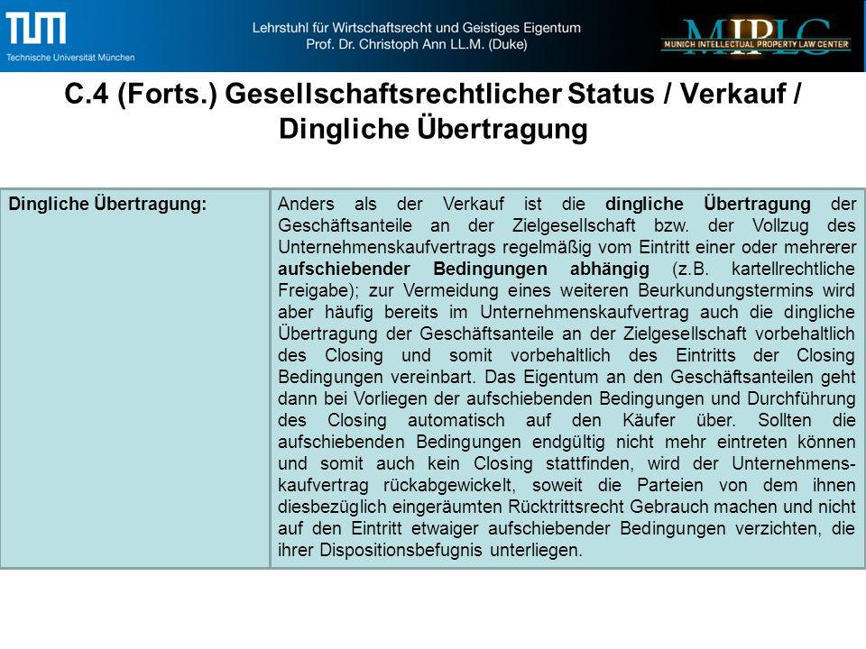 C.4 (Forts.) Gesellschaftsrechtlicher Status / Verkauf / Dingliche Übertragung Dingliche Übertragung:Anders als der Verkauf ist die dingliche Übertragung der Geschäftsanteile an der Zielgesellschaft bzw.