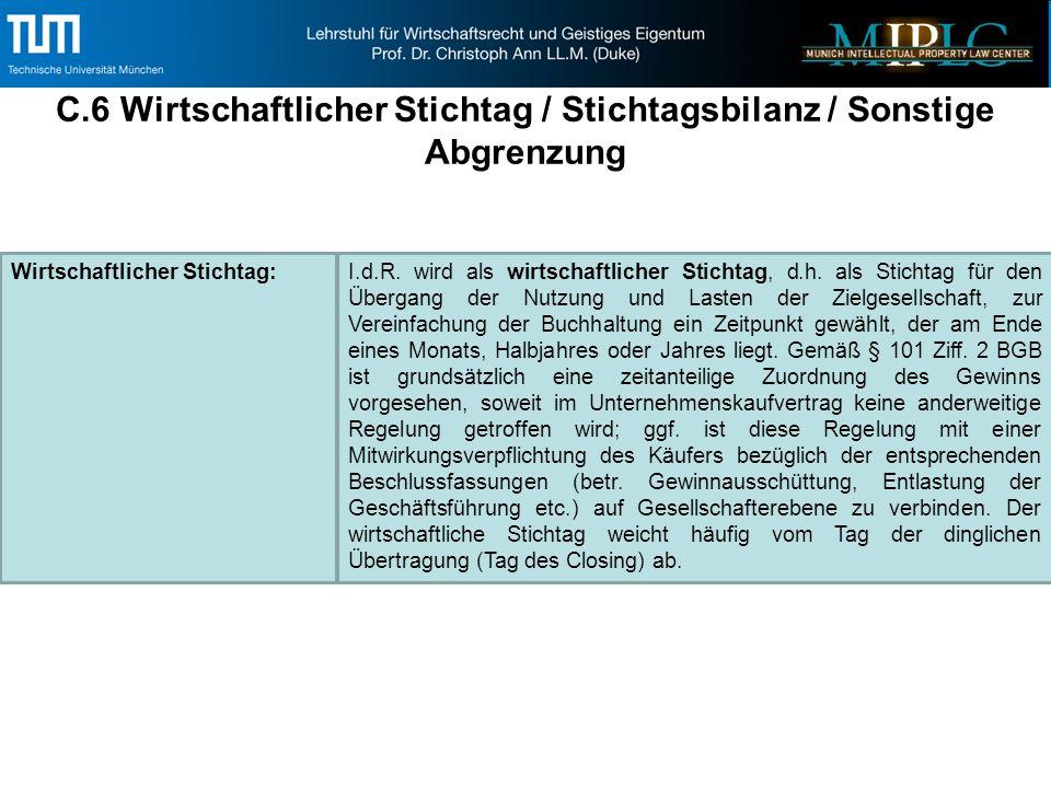 C.6 Wirtschaftlicher Stichtag / Stichtagsbilanz / Sonstige Abgrenzung Wirtschaftlicher Stichtag:I.d.R.