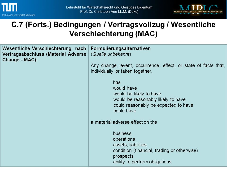 C.7 (Forts.) Bedingungen / Vertragsvollzug / Wesentliche Verschlechterung (MAC) 52 Wesentliche Verschlechterung nach Vertragsabschluss (Material Adverse Change - MAC): Formulierungsalternativen (Quelle unbekannt) Any change, event, occurrence, effect, or state of facts that, individually or taken together, has would have would be likely to have would be reasonably likely to have could reasonably be expected to have could have a material adverse effect on the business operations assets, liabilities condition (financial, trading or otherwise) prospects ability to perform obligations