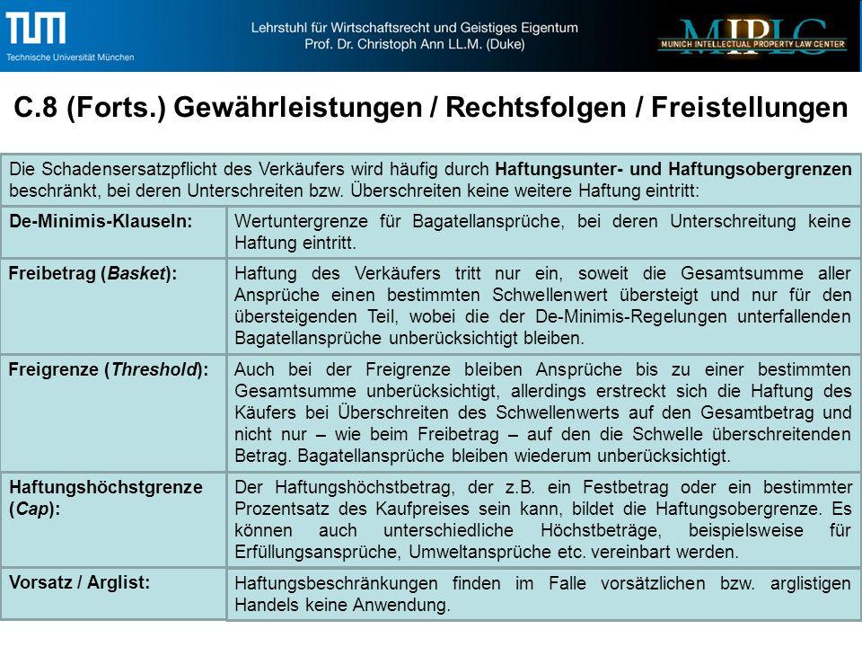 C.8 (Forts.) Gewährleistungen / Rechtsfolgen / Freistellungen Haftungshöchstgrenze (Cap): Der Haftungshöchstbetrag, der z.B.