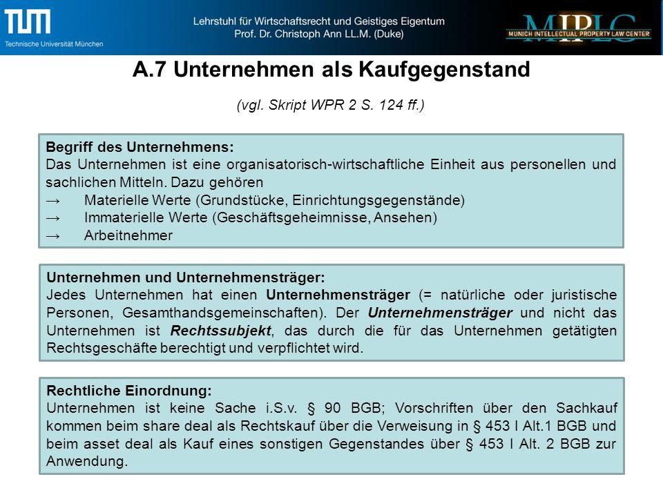 A.7 (Forts.) Unternehmen als Kaufgegenstand Unternehmenserwerb: 1.