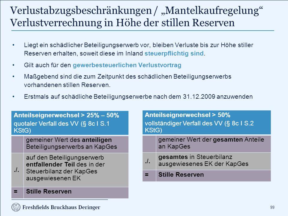 99 Anteilseignerwechsel > 25% – 50% quotaler Verfall des VV (§ 8c I S.1 KStG) gemeiner Wert des anteiligen Beteiligungserwerbs an KapGes./. auf den Be