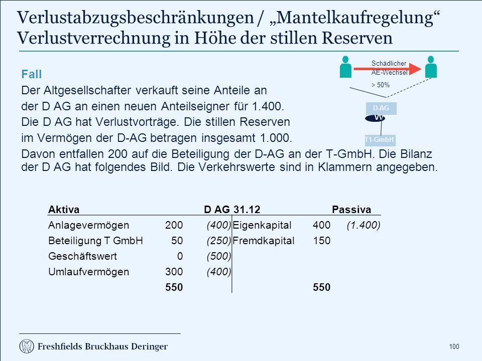 100 Fall Der Altgesellschafter verkauft seine Anteile an der D AG an einen neuen Anteilseigner für 1.400. Die D AG hat Verlustvorträge. Die stillen Re
