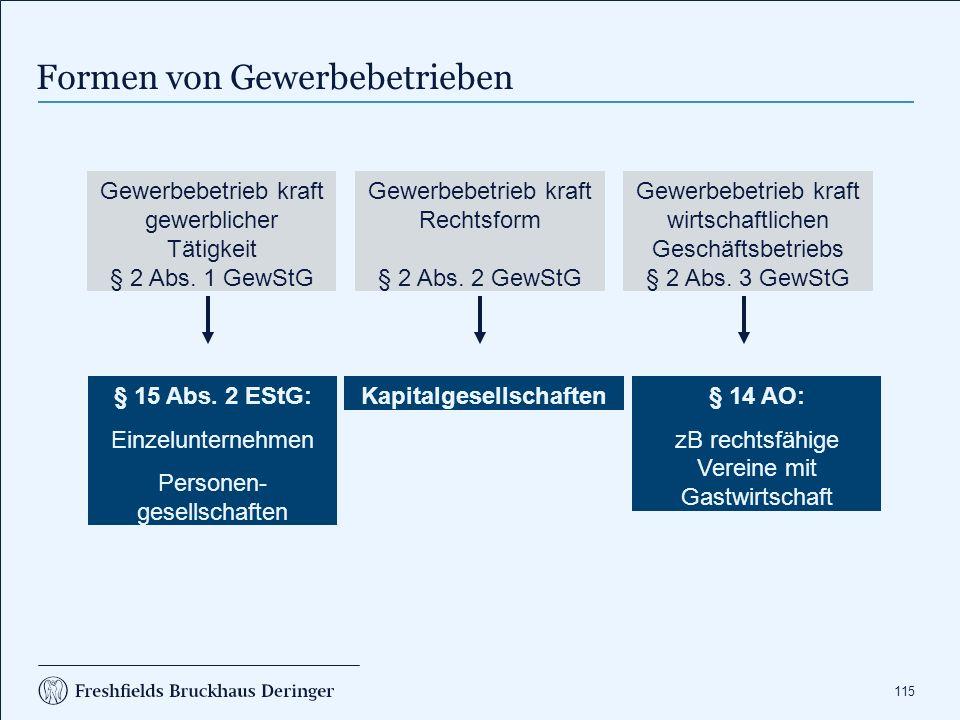 115 Formen von Gewerbebetrieben Gewerbebetrieb kraft gewerblicher Tätigkeit § 2 Abs.