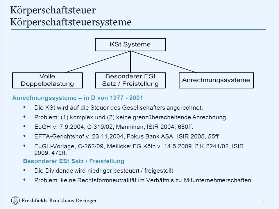 11 Körperschaftsteuer Körperschaftsteuersysteme Anrechnungssysteme – in D von 1977 - 2001 Die KSt wird auf die Steuer des Gesellschafters angerechnet.