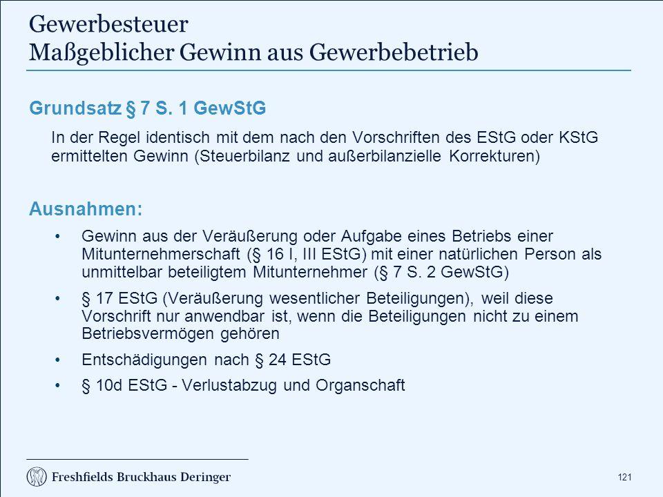 121 Gewerbesteuer Maßgeblicher Gewinn aus Gewerbebetrieb Grundsatz § 7 S. 1 GewStG In der Regel identisch mit dem nach den Vorschriften des EStG oder