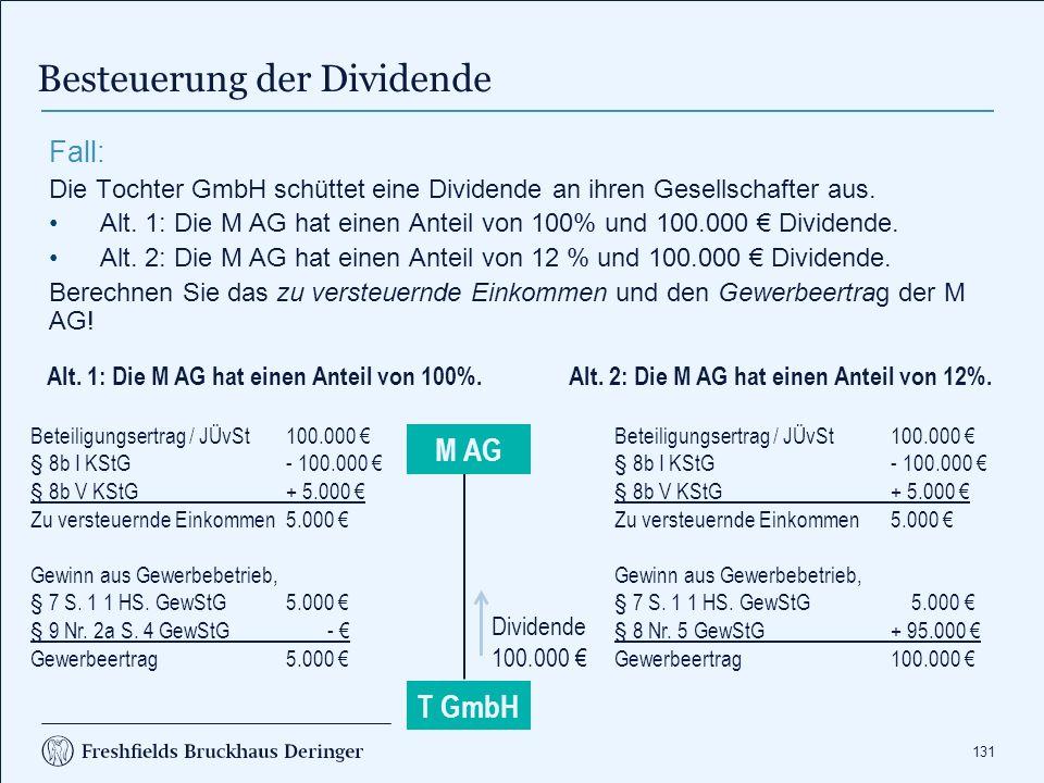 131 Besteuerung der Dividende T GmbH Fall: Die Tochter GmbH schüttet eine Dividende an ihren Gesellschafter aus. Alt. 1: Die M AG hat einen Anteil von