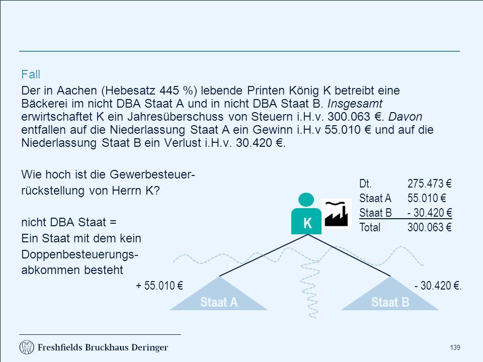 139 Fall Der in Aachen (Hebesatz 445 %) lebende Printen König K betreibt eine Bäckerei im nicht DBA Staat A und in nicht DBA Staat B. Insgesamt erwirt