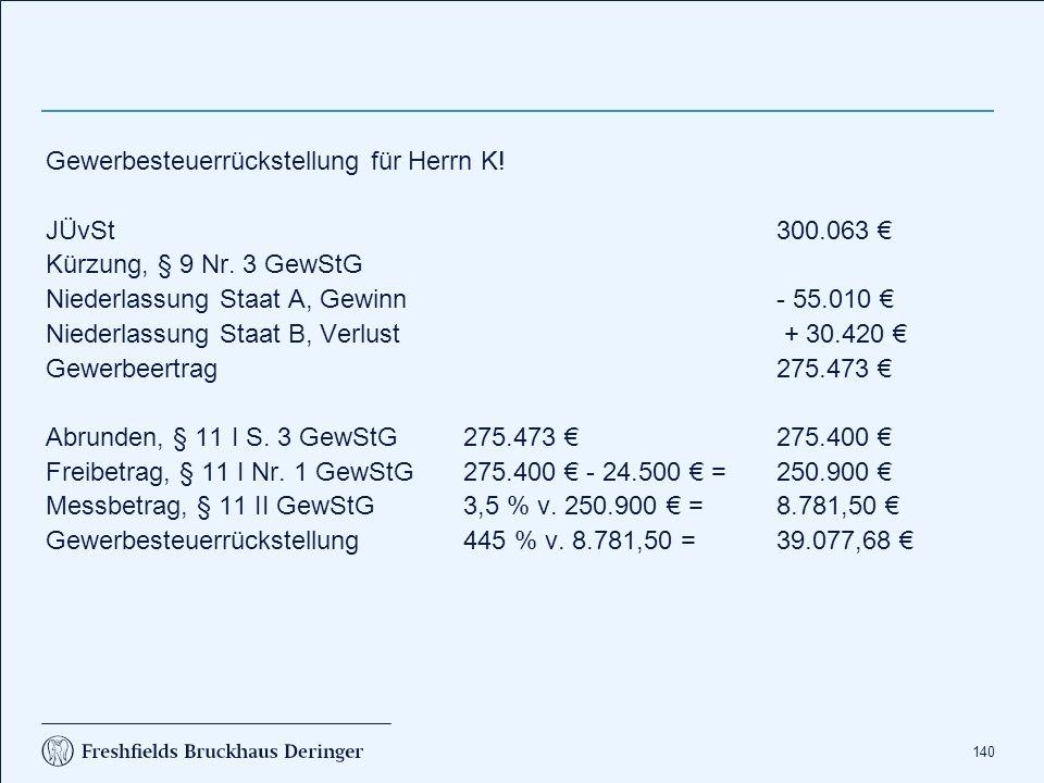 140 Gewerbesteuerrückstellung für Herrn K. JÜvSt300.063 € Kürzung, § 9 Nr.