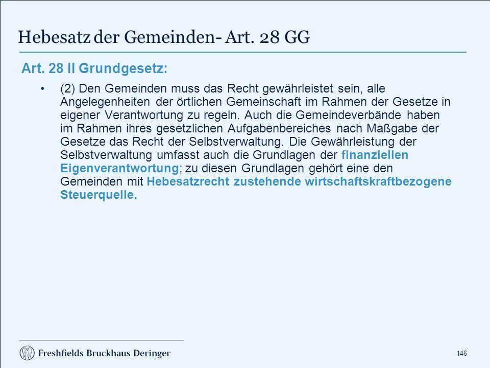 146 Hebesatz der Gemeinden- Art. 28 GG Art.