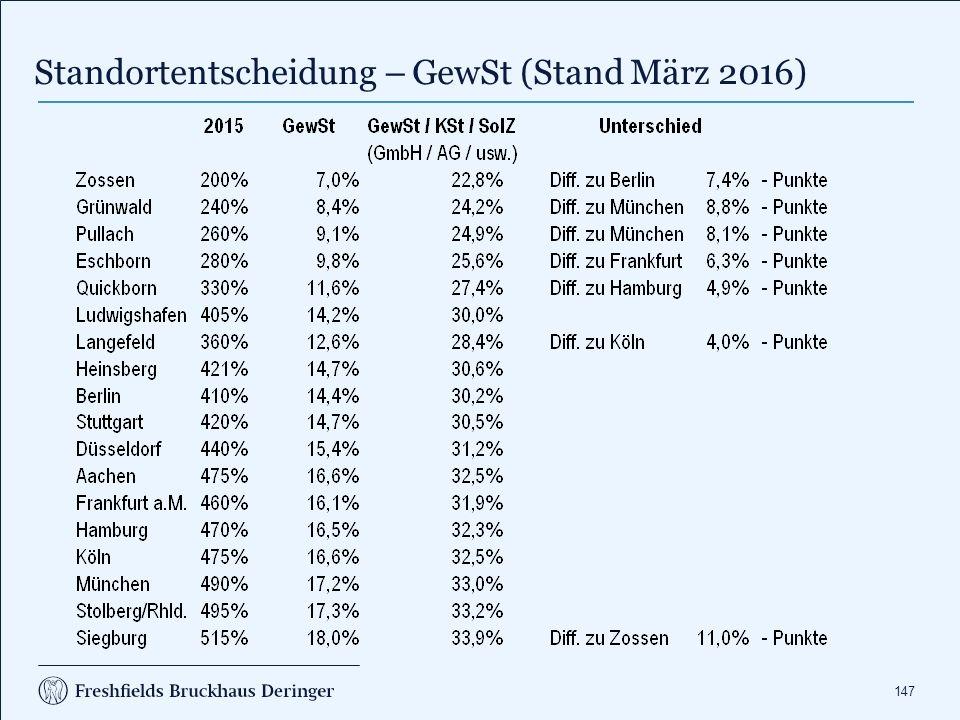 147 Standortentscheidung – GewSt (Stand März 2016)