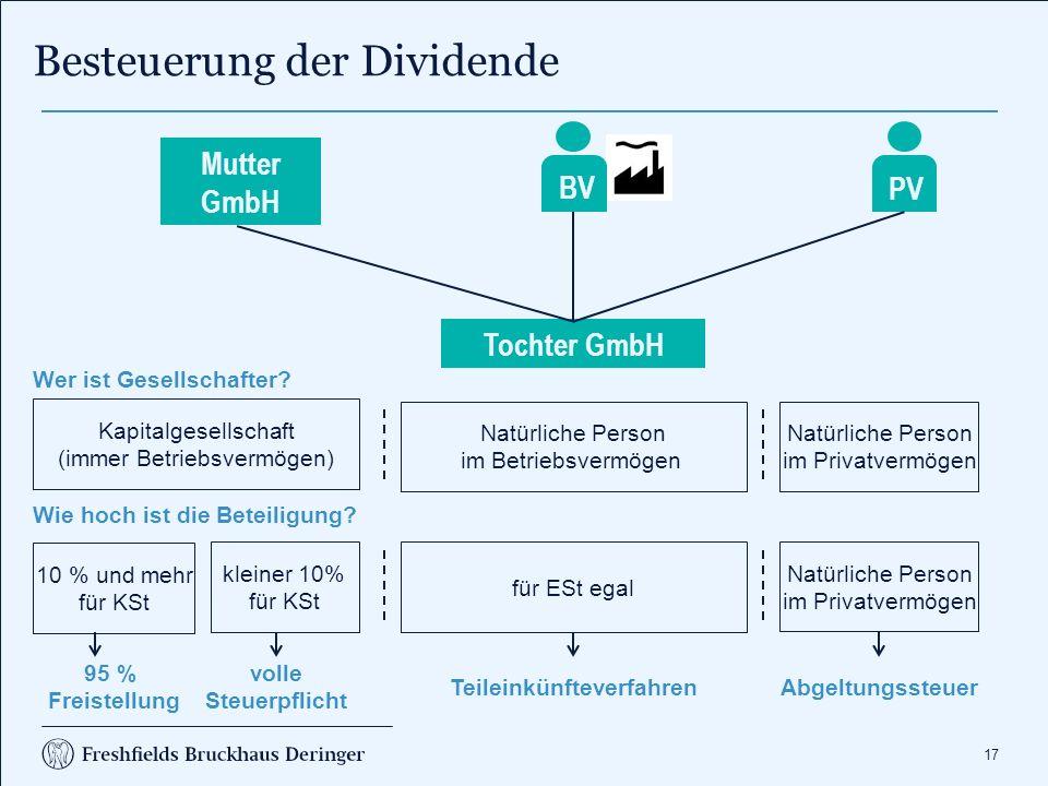17 Besteuerung der Dividende Natürliche Person im Betriebsvermögen Natürliche Person im Privatvermögen Tochter GmbH Kapitalgesellschaft (immer Betrieb