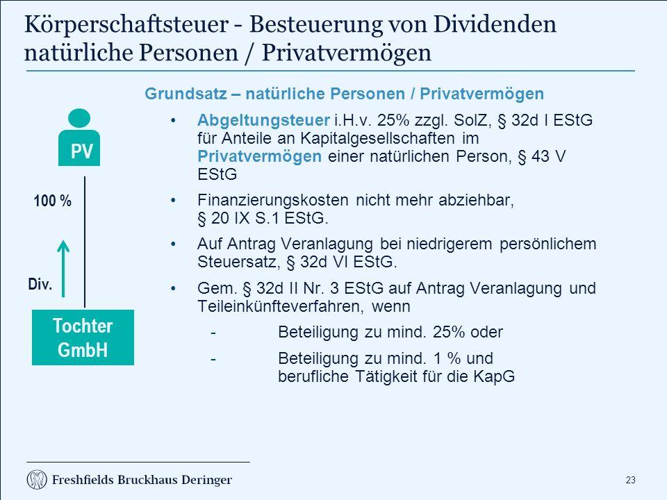 23 Körperschaftsteuer - Besteuerung von Dividenden natürliche Personen / Privatvermögen Grundsatz – natürliche Personen / Privatvermögen Abgeltungsteuer i.H.v.