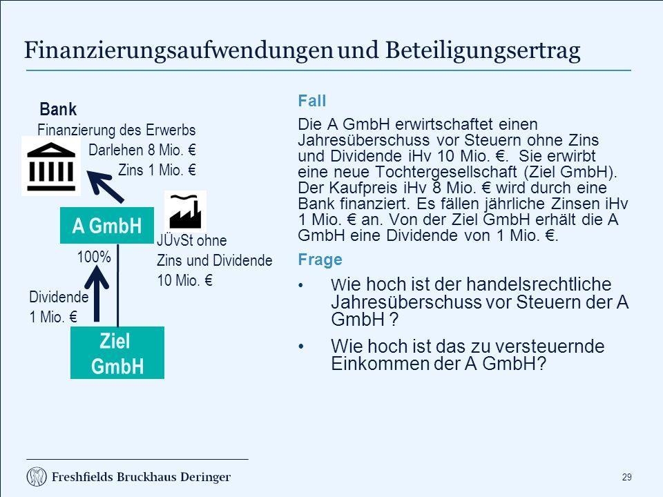 29 Finanzierungsaufwendungen und Beteiligungsertrag Fall Die A GmbH erwirtschaftet einen Jahresüberschuss vor Steuern ohne Zins und Dividende iHv 10 M
