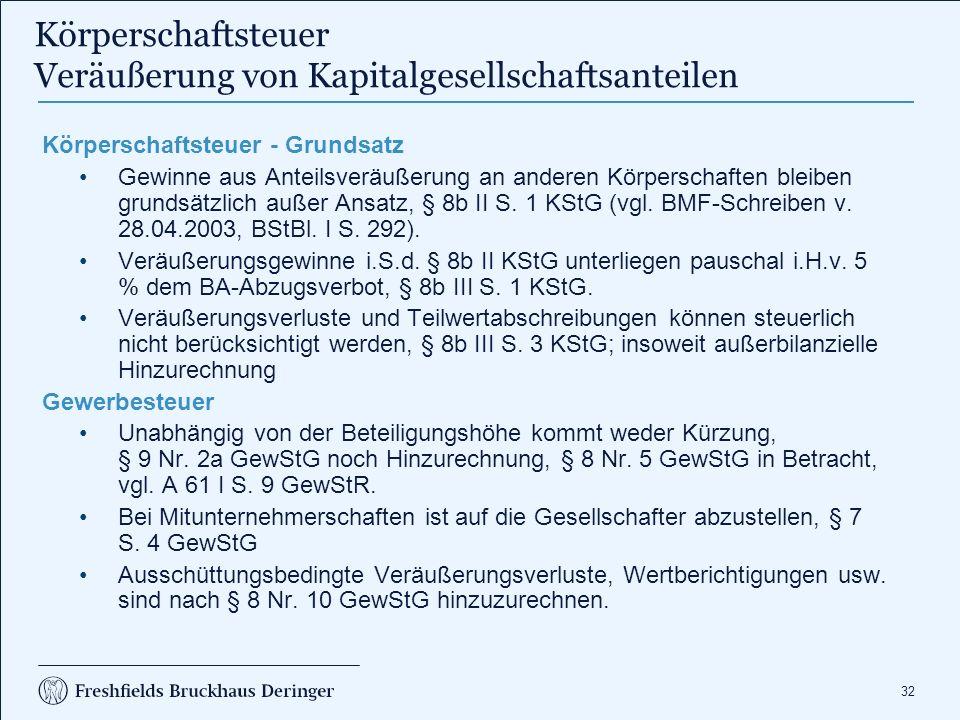 32 Körperschaftsteuer Veräußerung von Kapitalgesellschaftsanteilen Körperschaftsteuer - Grundsatz Gewinne aus Anteilsveräußerung an anderen Körperschaften bleiben grundsätzlich außer Ansatz, § 8b II S.