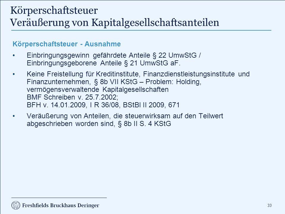 33 Körperschaftsteuer Veräußerung von Kapitalgesellschaftsanteilen Körperschaftsteuer - Ausnahme Einbringungsgewinn gefährdete Anteile § 22 UmwStG / Einbringungsgeborene Anteile § 21 UmwStG aF.