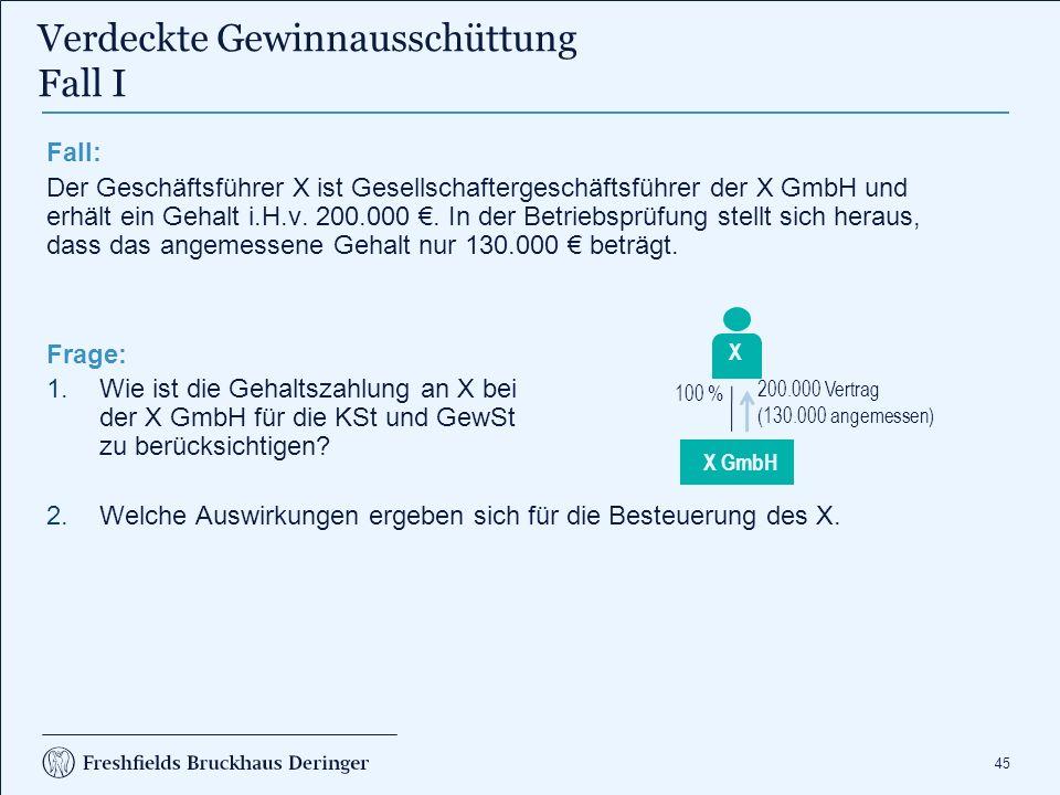 45 Fall: Der Geschäftsführer X ist Gesellschaftergeschäftsführer der X GmbH und erhält ein Gehalt i.H.v. 200.000 €. In der Betriebsprüfung stellt sich