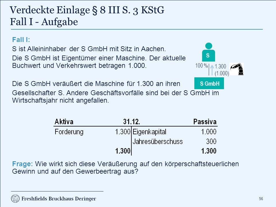 56 Fall I: S ist Alleininhaber der S GmbH mit Sitz in Aachen. Die S GmbH ist Eigentümer einer Maschine. Der aktuelle Buchwert und Verkehrswert betrage