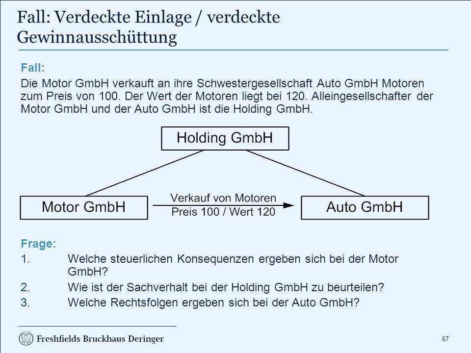 67 Fall: Die Motor GmbH verkauft an ihre Schwestergesellschaft Auto GmbH Motoren zum Preis von 100. Der Wert der Motoren liegt bei 120. Alleingesellsc