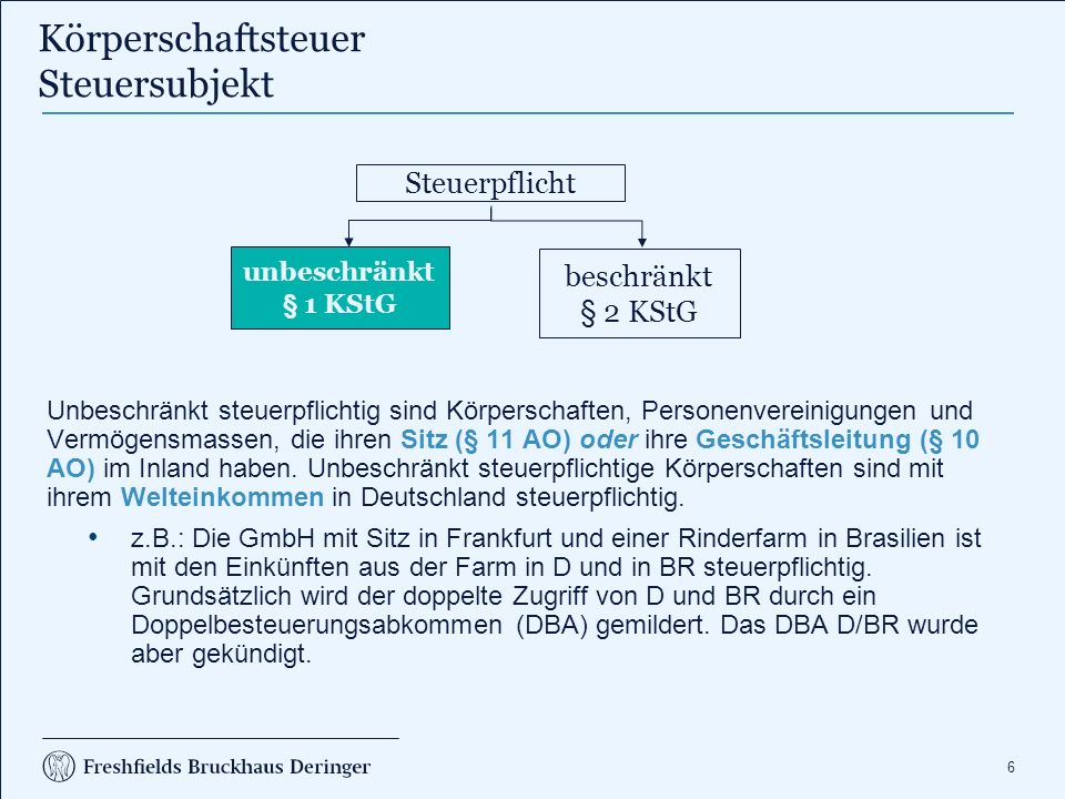 57 1.Die S GmbH ist unbeschränkt körperschaftsteuerpflichtig, da sie Sitz und Geschäftsleitung im Inland hat, § 1 I S.