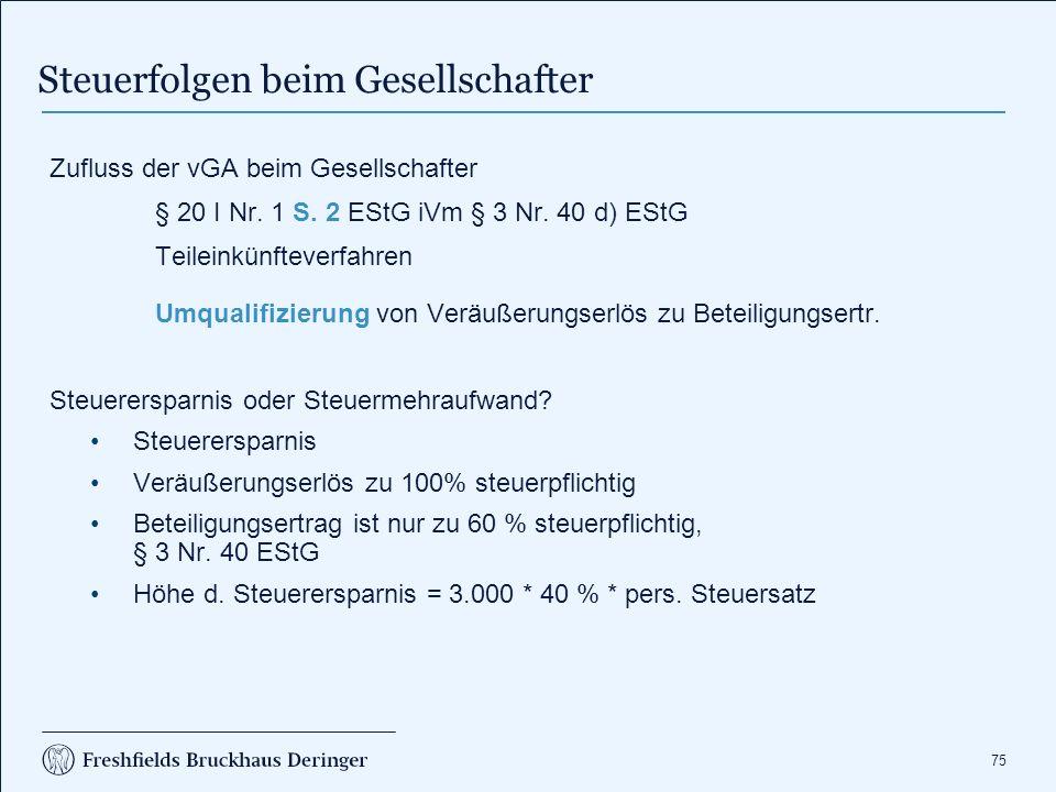 75 Zufluss der vGA beim Gesellschafter § 20 I Nr. 1 S.