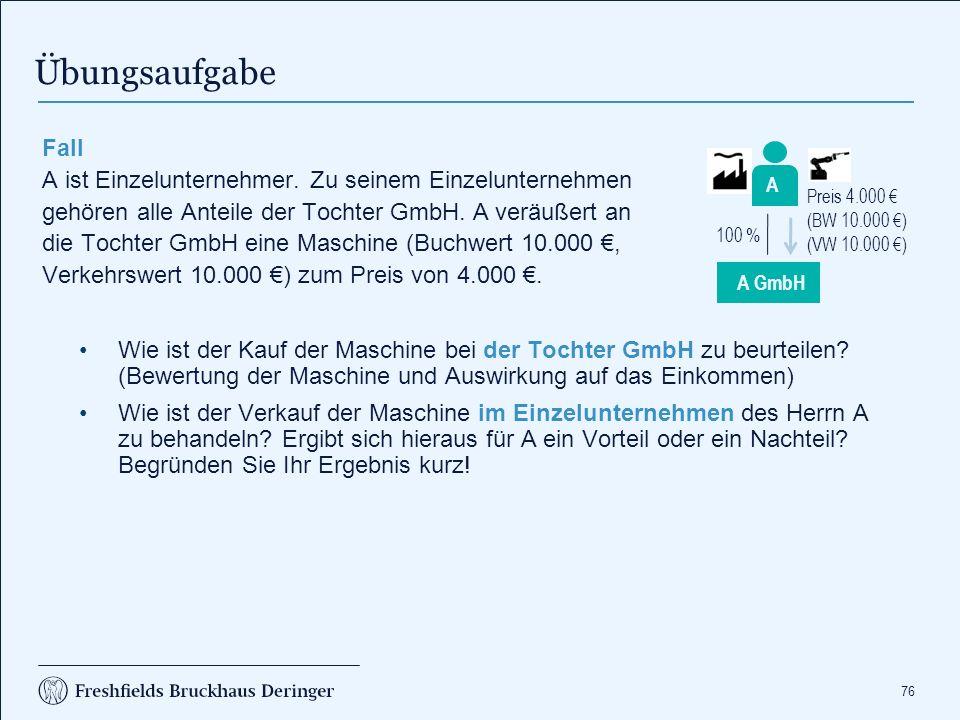76 Fall A ist Einzelunternehmer. Zu seinem Einzelunternehmen gehören alle Anteile der Tochter GmbH. A veräußert an die Tochter GmbH eine Maschine (Buc
