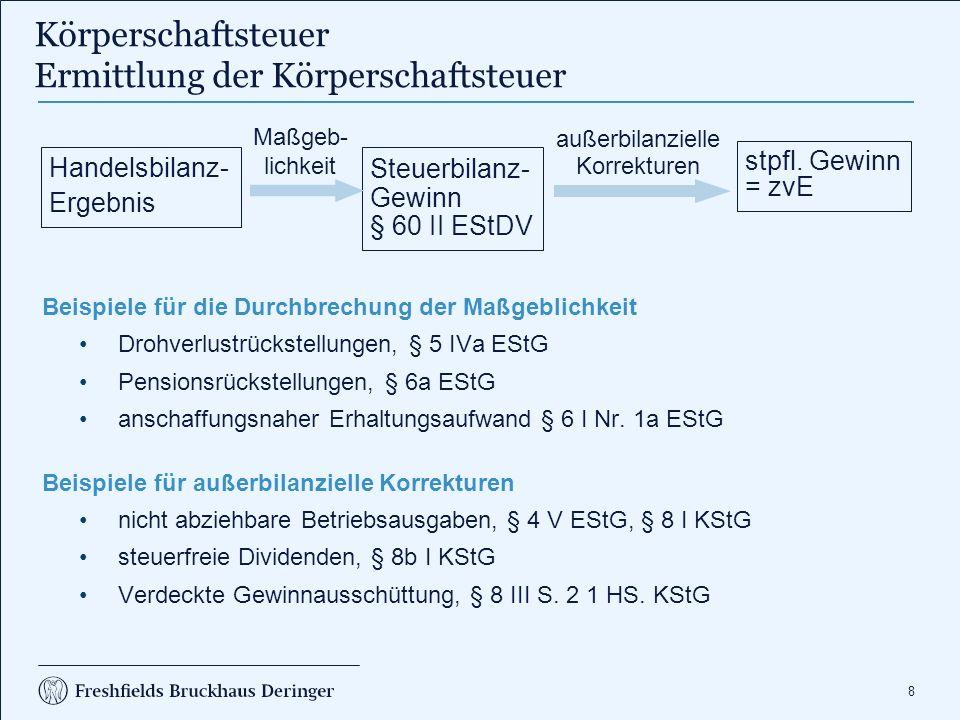 49 1.Die S GmbH ist unbeschränkt körperschaftsteuerpflichtig, da sie Sitz und Geschäftsleitung im Inland hat, § 1 I S.