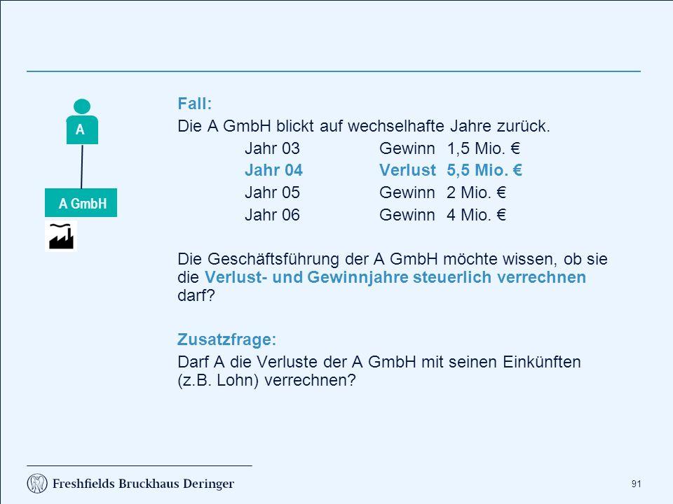 91 Fall: Die A GmbH blickt auf wechselhafte Jahre zurück. Jahr 03Gewinn1,5 Mio. € Jahr 04Verlust5,5 Mio. € Jahr 05Gewinn2 Mio. € Jahr 06Gewinn4 Mio. €