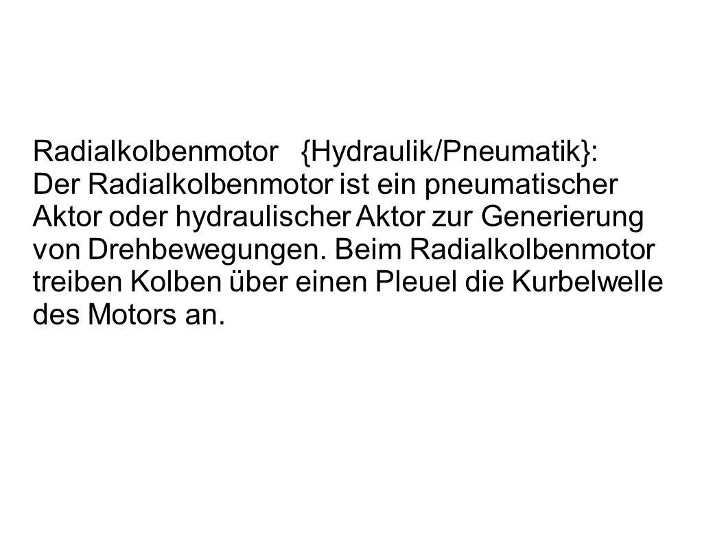 Radialkolbenmotor {Hydraulik/Pneumatik}: Der Radialkolbenmotor ist ein pneumatischer Aktor oder hydraulischer Aktor zur Generierung von Drehbewegungen.