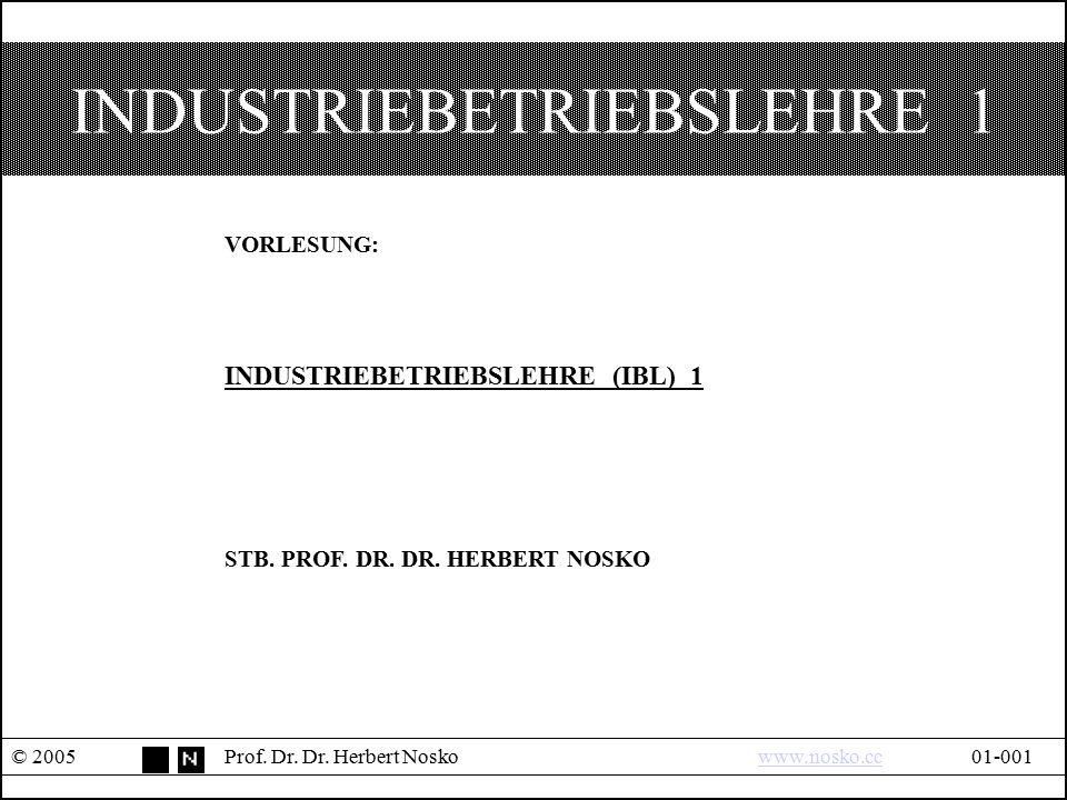 INDUSTRIEBETRIEBSLEHRE 1 © 2005Prof. Dr. Dr. Herbert Noskowww.nosko.cc01-001www.nosko.cc VORLESUNG: INDUSTRIEBETRIEBSLEHRE (IBL) 1 STB. PROF. DR. DR.
