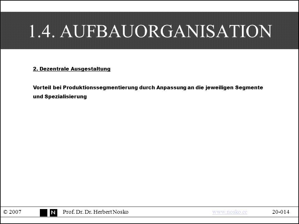 1.4. AUFBAUORGANISATION © 2007Prof. Dr. Dr. Herbert Noskowww.nosko.cc20-014www.nosko.cc 2. Dezentrale Ausgestaltung Vorteil bei Produktionssegmentieru