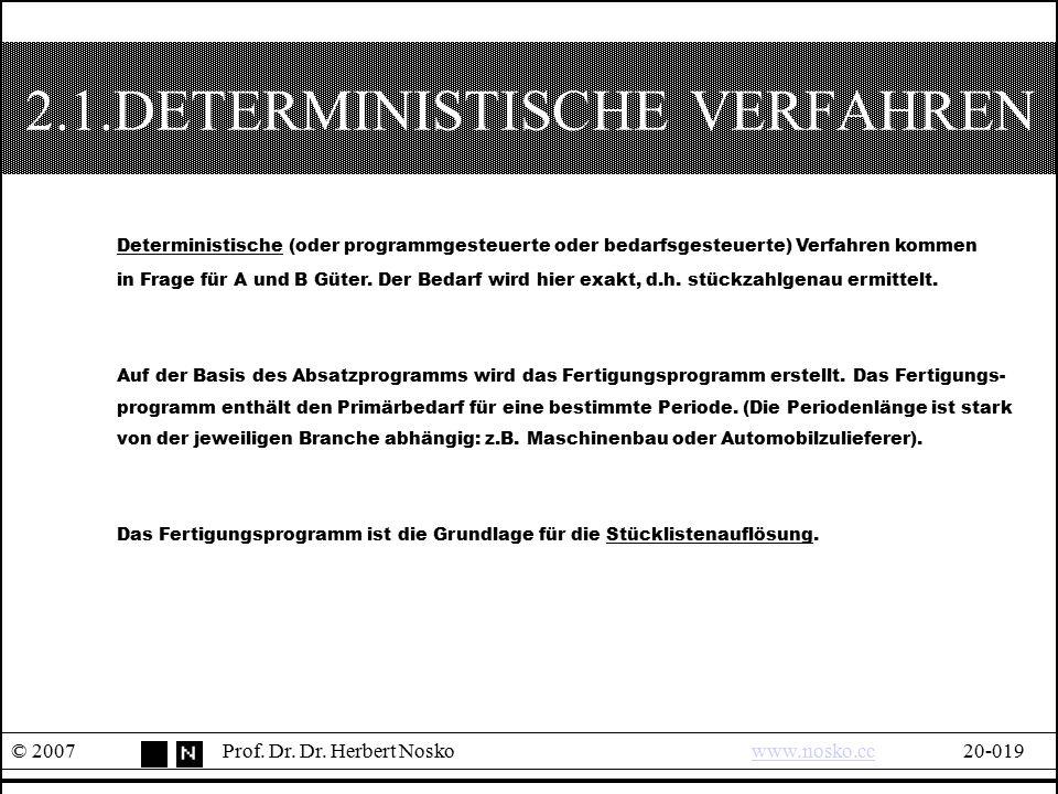 2.1.DETERMINISTISCHE VERFAHREN © 2007Prof. Dr. Dr. Herbert Noskowww.nosko.cc20-019www.nosko.cc Deterministische (oder programmgesteuerte oder bedarfsg