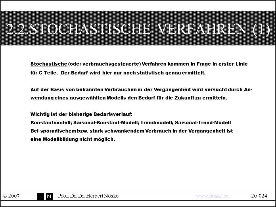 2.2.STOCHASTISCHE VERFAHREN (1) © 2007Prof. Dr. Dr. Herbert Noskowww.nosko.cc20-024www.nosko.cc Stochastische (oder verbrauchsgesteuerte) Verfahren ko