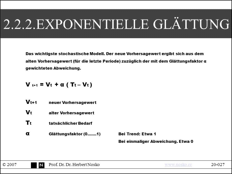 2.2.2.EXPONENTIELLE GLÄTTUNG © 2007Prof. Dr. Dr. Herbert Noskowww.nosko.cc20-027www.nosko.cc Das wichtigste stochastische Modell. Der neue Vorhersagew