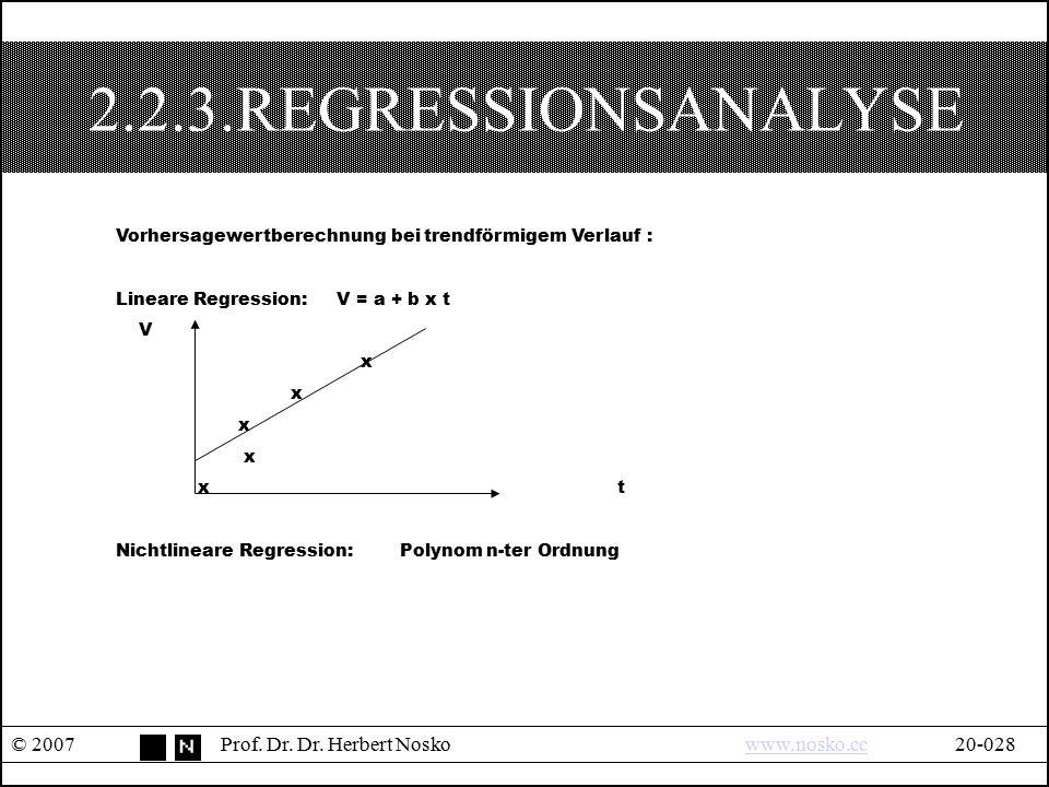 2.2.3.REGRESSIONSANALYSE © 2007Prof. Dr. Dr. Herbert Noskowww.nosko.cc20-028www.nosko.cc Vorhersagewertberechnung bei trendförmigem Verlauf : Lineare