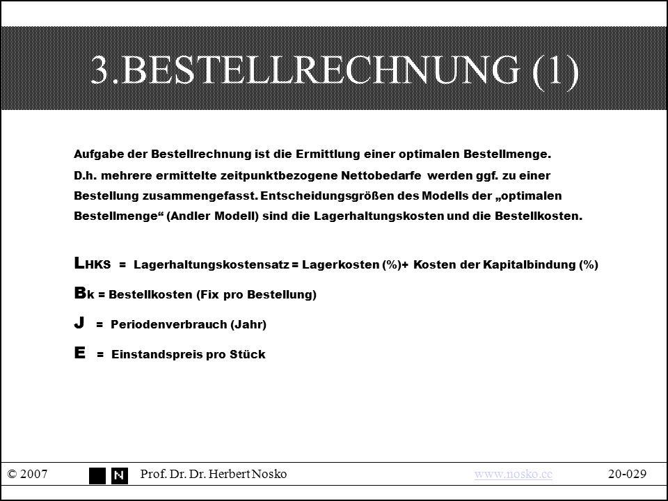 3.BESTELLRECHNUNG (1) © 2007Prof. Dr. Dr. Herbert Noskowww.nosko.cc20-029www.nosko.cc Aufgabe der Bestellrechnung ist die Ermittlung einer optimalen B