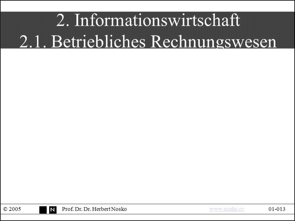 2. Informationswirtschaft 2.1. Betriebliches Rechnungswesen © 2005Prof. Dr. Dr. Herbert Noskowww.nosko.cc01-013www.nosko.cc