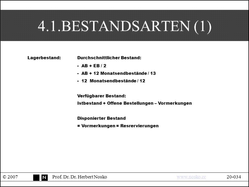 4.1.BESTANDSARTEN (1) © 2007Prof. Dr. Dr. Herbert Noskowww.nosko.cc20-034www.nosko.cc Lagerbestand:Durchschnittlicher Bestand: - AB + EB / 2 - AB + 12
