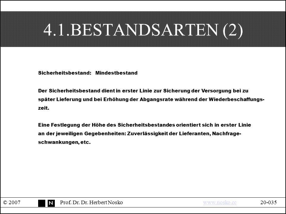 4.1.BESTANDSARTEN (2) © 2007Prof. Dr. Dr. Herbert Noskowww.nosko.cc20-035www.nosko.cc Sicherheitsbestand: Mindestbestand Der Sicherheitsbestand dient