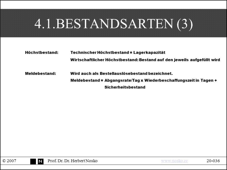 4.1.BESTANDSARTEN (3) © 2007Prof. Dr. Dr. Herbert Noskowww.nosko.cc20-036www.nosko.cc Höchstbestand:Technischer Höchstbestand = Lagerkapazität Wirtsch